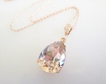 Bridal Necklace,Bridesmaid Necklace,Bridal Jewellery, Cameo Necklace,Rose Gold Necklace, Swarovski Crystal Necklace,Blush Jewellery,
