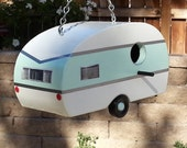 Vintage 50s/60s Travel Trailer Bird House Mint Green