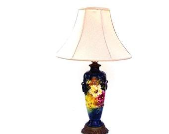 Antique Lamp Royal Bonn Vase Vintage Franz Mehlem Floral Porcelain Table Lamps Teal Blue Pink Flowers Art Nouveau