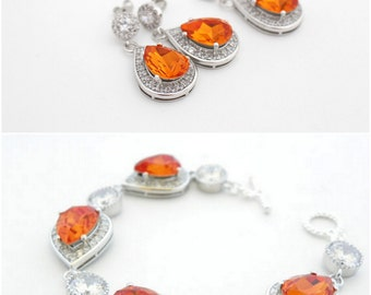 Orange Wedding Jewelry, Orange Bridal Jewelry Set, Earrings Necklace and Bracelet Set, Tangerine Swarovski Teardrop, Fall Wedding Jewelry