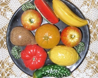 Vintage Majolica Plate - Ceramic Fruit on Black Plate, Centerpiece or Wall Plate, Unmarked Likely Portuguese, 9 Ceramic Fruits
