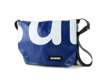 Messenger Bag made from Upcycled Truck Tarp, Laptop Bag, Courier Bag, Eco Friendly and Handmade (M05)