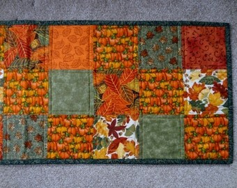 Falling leaves and pumpkins quilted harvest table runner - ready to ship