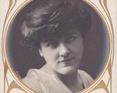 Couldn't Care Less- 1900s Antique Photograph- Edwardian Boredom- Rolling Eyes- Art Nouveau Beauty- Real Photo Postcard- RPPC- Paper Ephemera