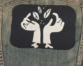 Hands Patch (Hand silkscreened patch on jean)