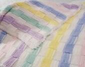 SALE Pastel Baby Handmade Blanket, Pastel Knit design Blanket