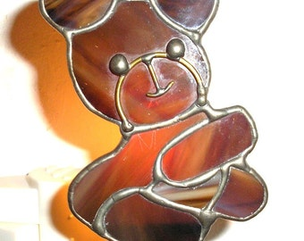 LT Stained glass brown Bear night light lamp made with streaked brown opal glass