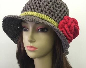 Crochet Summer Hat w/Removable Flower Pin_Grey