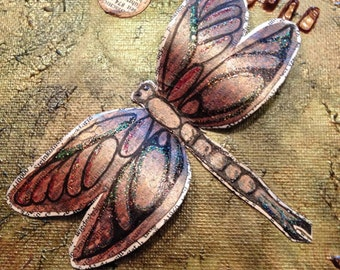 Dragonflies in Flight mixed media, dragonfly art, painted, inked, ensemblege