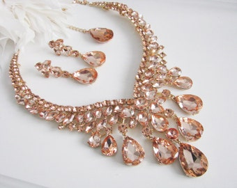 Sparkle Statement Wedding Necklace in Peach Great Bridal Wedding Jewelry Pageant Jewelry