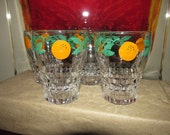 Antique Art Deco 1930s Enamel Painted Orange Juice Drinking Glasses Set of 4 Great Color Very Good Condition