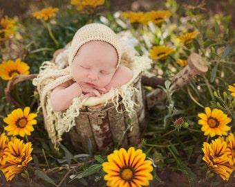 Newborn Photo Prop Bonnet with Wide Ties, Newborn Merino Bonnet Newborn Photo Prop Bonnet Baby Prop Bonnet, Newborn Size