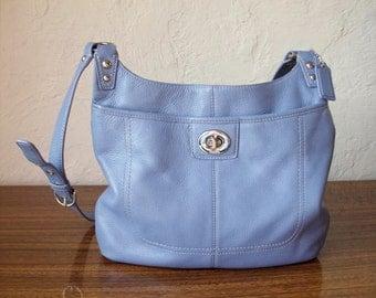 COACH Cornflower Blue Leather Shoulder Cross Body Handbag