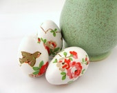 Easter Eggs - Pink, Rose, Robin Birds - Decoupaged, White, Wooden