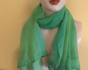 Handpainted Silk Georgette Scarf or Shawl By The Silk Maid In Greens