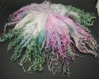 Teeswater separated  locks, hand painted fiber fleece for spinning and felting, 2.4 oz