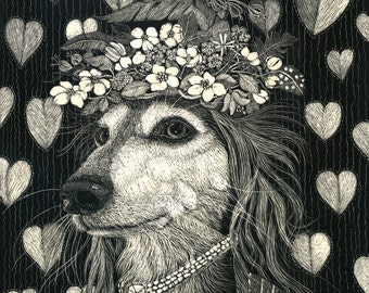 Saluki Hound NEW Limited Edition Art Print Queen for a day