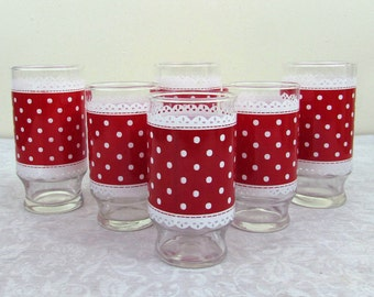 "Polka Dot & Lace Tumblers - three 6"" and three 5""  - Anchor Hocking - 1960s - Mid-century"