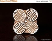 THANKSGIVING SALE Indian Wood Stamps, Textile Stamp, Tjaps, Pottery Stamp, Hand Carved Blocks- Stylized Flower