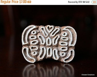 THANKSGIVING SALE Hand Carved Indian Wood Textile Stamp Block- Stylized Butterfly (Reduced)