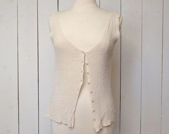 Button Up Tank Top Cream Knit Silk Express Early 90s Vintage Vest Medium Large