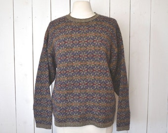 Snowflake Sweater Fair Isle Wool Knit Pullover Gray Purple Early 90s Woodland Vintage Knit Sweater Large
