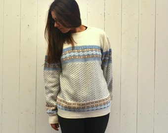 Fair Isle Sweater 80s Vintage Winter Knit Woodland Wool Pullover Large