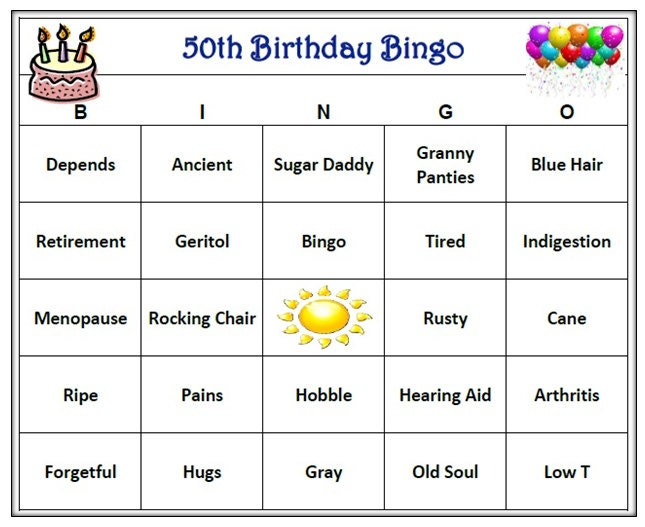 50th Birthday Party Bingo Game 60 Cards Old Age Theme