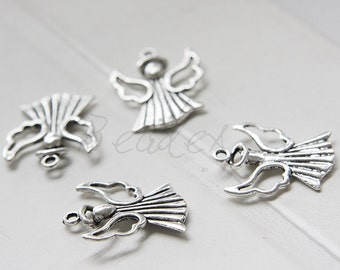 10 Pieces / Angel / Oxidized Silver Tone / Base Metal / Charm (Y12548//D109)