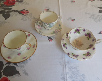 Lot of 3--Vintage Teacups and Saucers Pink Roses Violets Excellent