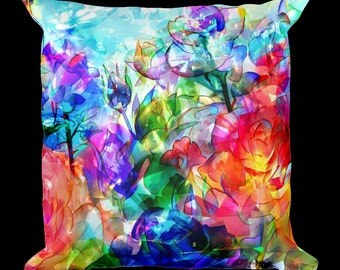 Floral Watercolors Designer Throw Pillow