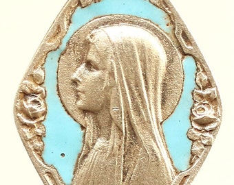 """Antique Blue Enamel Our Lady of Lourdes Mary Silver Religious Medal Pendant Necklace on 18"""" sterling silver rolo chain"""