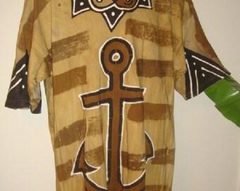 African Mudcloth T-shirt Handmade Tie Dye