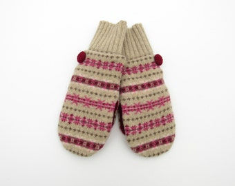 Wool Mittens Fleece Lined Fair Isle in Pinks Burgundy Brown and Khaki Tan Felted Wool Sweater Mittens