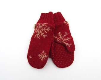Wool Mittens Fleece Lined Red and Beige Tan Snowflake Felted Wool Mittens