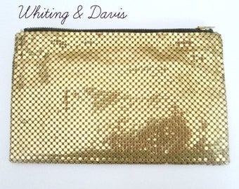 Gold Mesh Zippered Purse Wallet Vintage Whiting & Davis