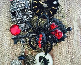 SKELETON Brooch  -  GOTH Girl Pin - Steampunk SPIDER Jewelry
