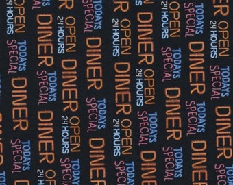 Fabric Remnant, Today's Special, Quilting Treasures Fabric, Words, Diner, 23""