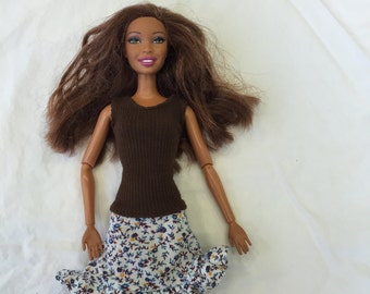 Handmade Barbie clothes, Barbie skirt, floral ruffle Barbie skirt