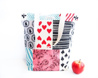 SALE 30% OFF - Zippered Tote Shopping Bag - Echino Alice in Wonderland Patchwork