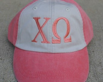 Chi Omega two toned baseball cap with embroidered greek letters