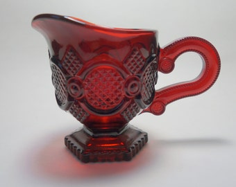 Vintage Avon Cape Cod Ruby Red Glass Footed Creamer, Vintage Ruby Red Glass, Cape Cod Glass Creamer, Ruby Red Glass Creamer, Avon Cape Cod