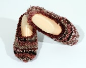 Brown Beige Hand Knit Slippers, Fuzzy Brown Slippers, Lady's Handmade Footwear
