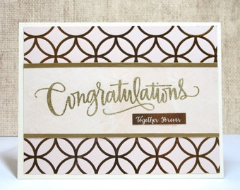 Wedding Congratulations Card- Congratulations- Together Forever-Handmade Wedding Cards