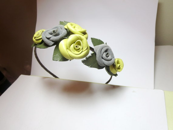 Flower headband Leather roses floral bridal tiara woodland wedding