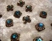 Fun Lot of Light Blue Circle & Flower Crosses Beads for Bracelet