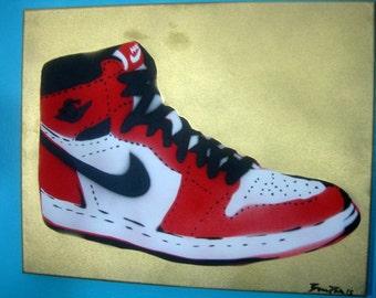 Air Jordan I NIKE Shoe Cut Stencil Painting Red White Black & Gold on Canvas NBA