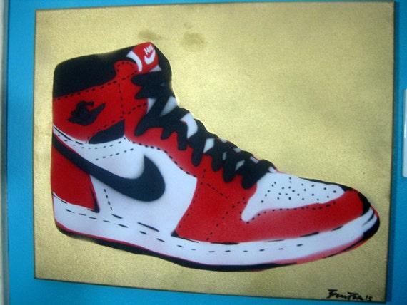 air i nike shoe cut stencil painting white black