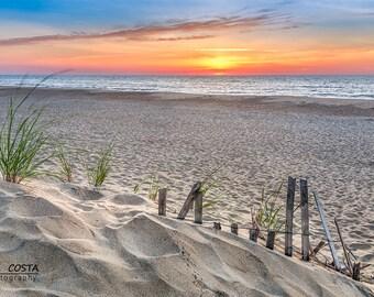 Fenwick Island Sunrise Photography, Footprints in the Sand, Beach Fence, Seascape Art, Sand Dune, Ocean Waves, Beach Decor, Art Gift