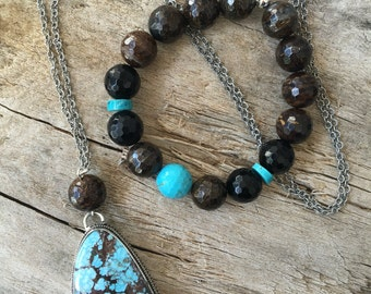 Turquoise and bronzite necklace and bracelet set in sterling silver